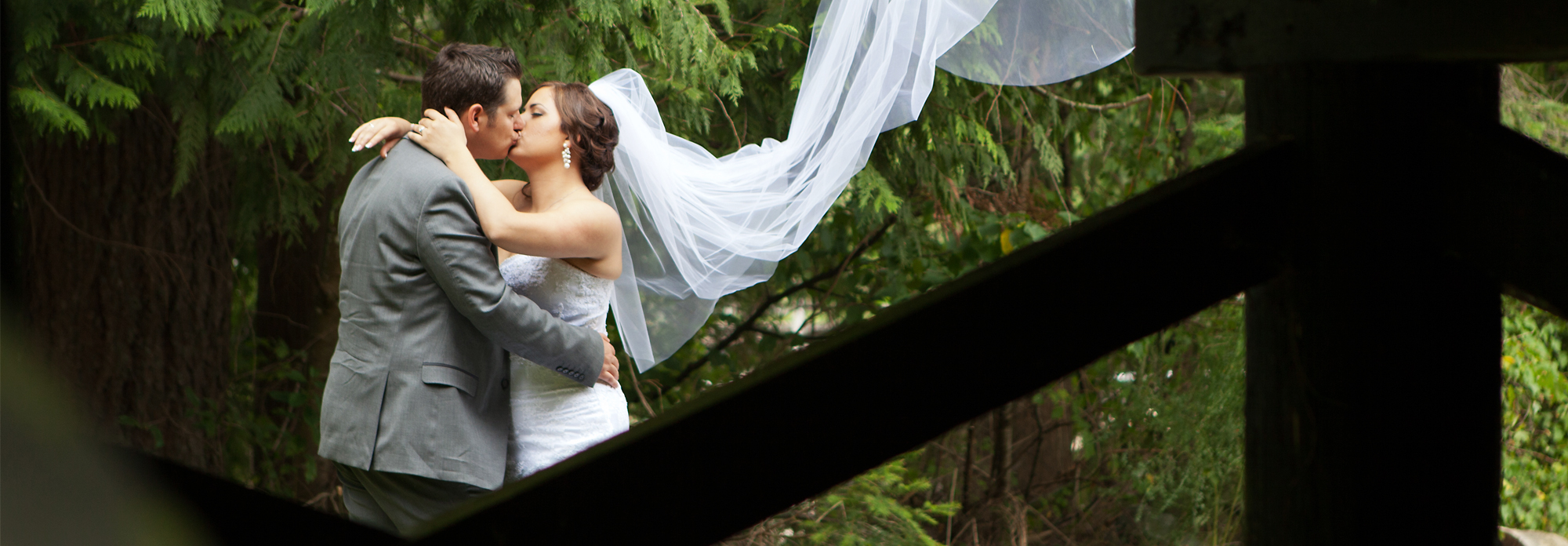 Wedding Photography - Romantic shot of couple kissing