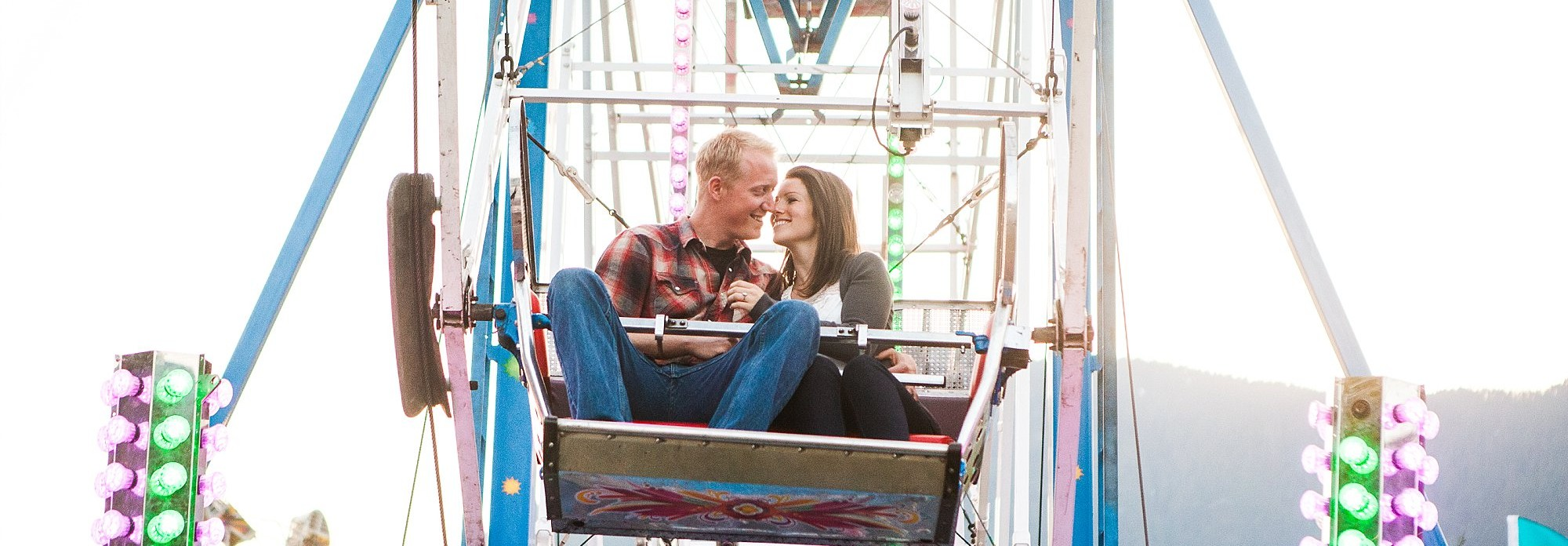 Engagement Photography, Couple on Ferris Wheel